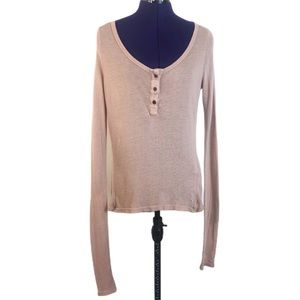 Brandy Melville Taupe Pink Long Sleeve Top
